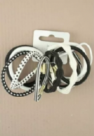 Card of Black and White Assorted Elastics (Code 1958)